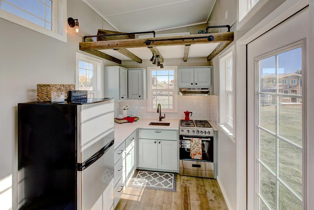 Kitchen w/ Box Beam Ceiling - Mouse House Tiny Homes