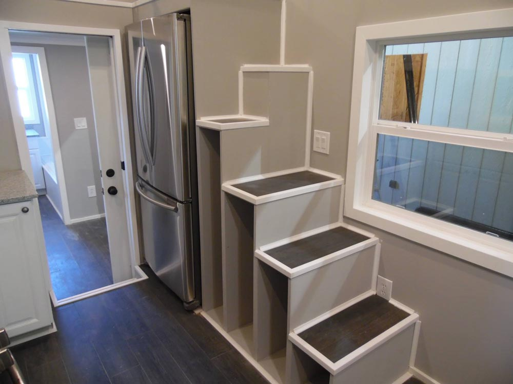 Storage Stairs w/ Refrigerator - Park City by Upper Valley Tiny Homes