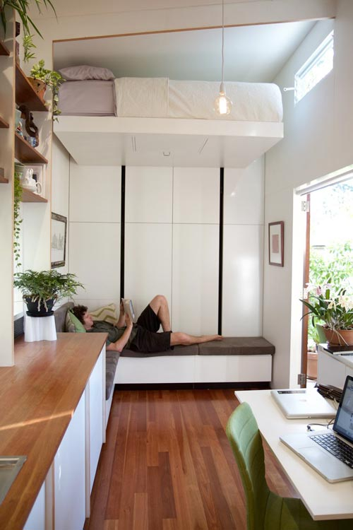 Living Room w/ Bed Above - Portal by The Tiny House Company