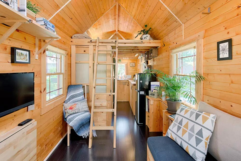 Ladder to Bedroom Loft - Tiny Tack House
