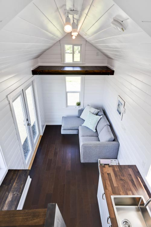 Couch & French Doors - Just Wahls Tiny House