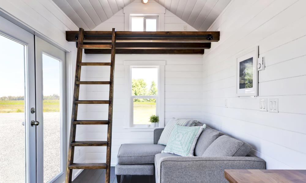 Living Area & Storage Loft - Just Wahls Tiny House