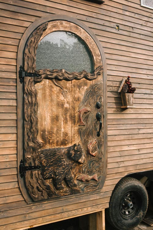 Hand Carved Door - Esket Tiny House
