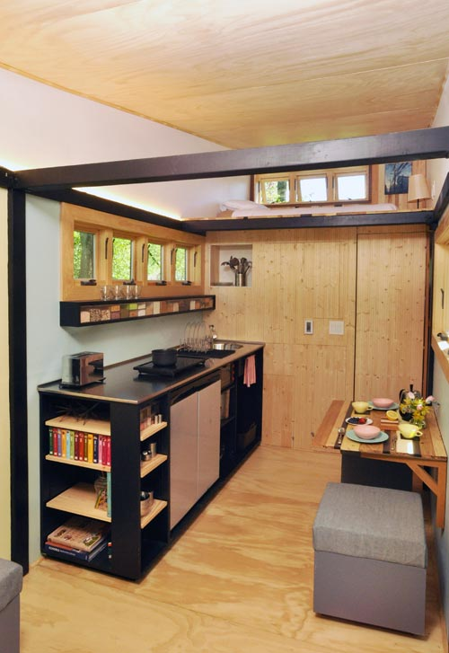 Kitchen w/ Storage Cubes For Seats - Toy Box Tiny Home