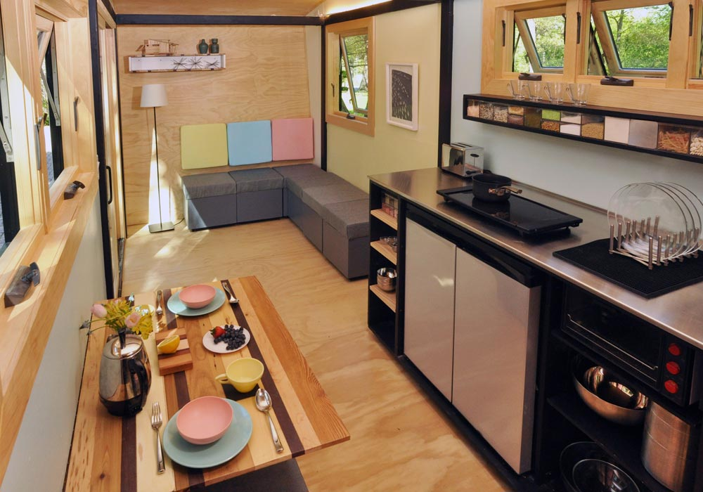 Kitchen & Living Area - Toy Box Tiny Home