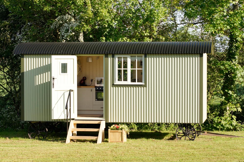 Corrugated Metal Exterior - Wall Bed Hut by Riverside Shepherd Huts