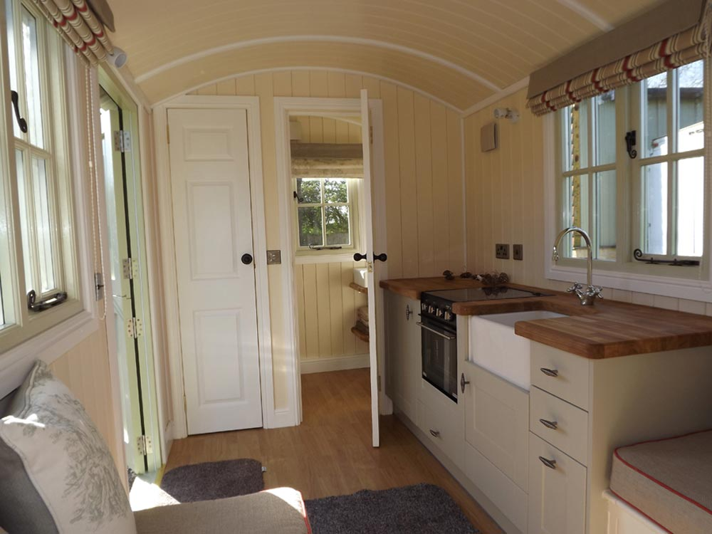 Kitchen & Bathroom - Wall Bed Hut by Riverside Shepherd Huts