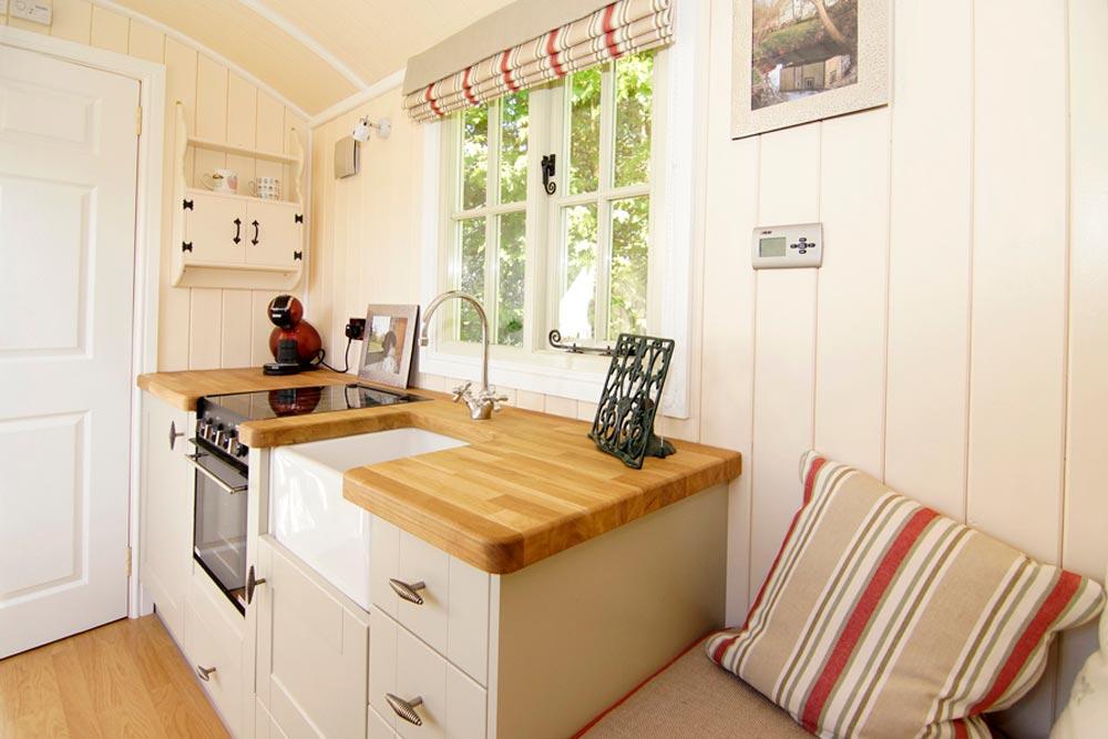 Butcher Block Counter - Wall Bed Hut by Riverside Shepherd Huts