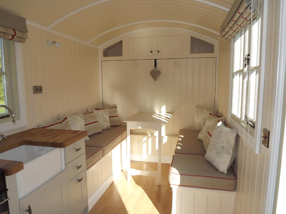 Living Area - Wall Bed Hut by Riverside Shepherd Huts