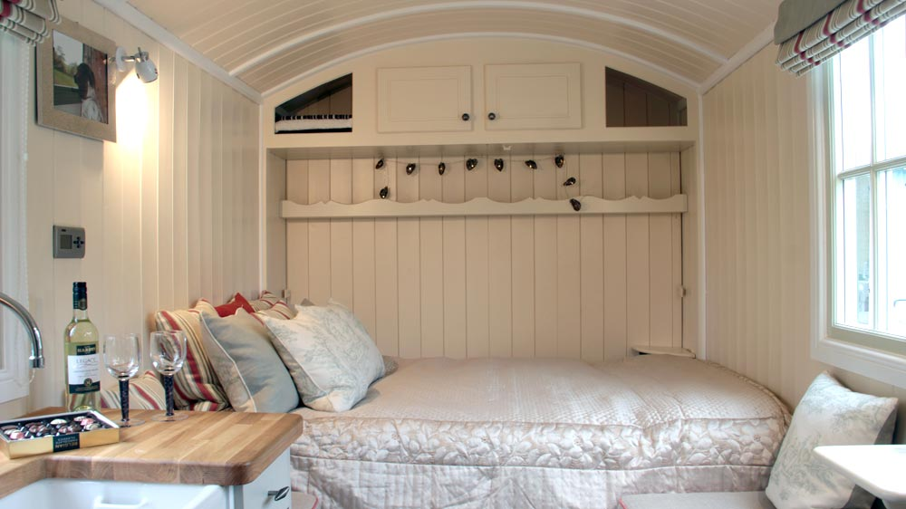 Wall Bed Lowered - Wall Bed Hut by Riverside Shepherd Huts
