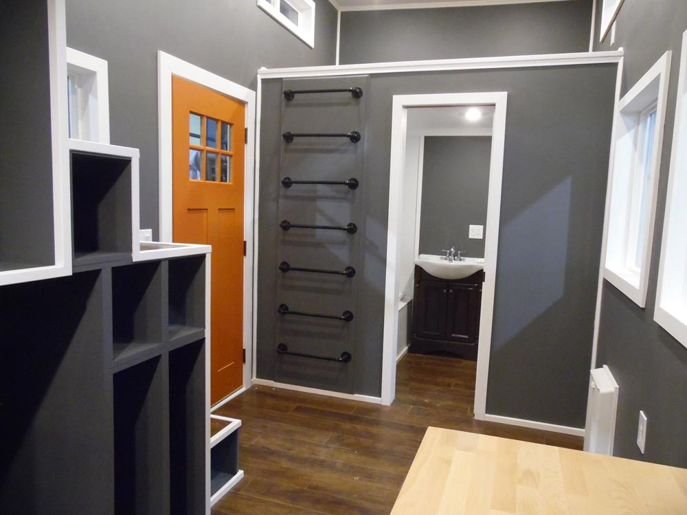 Bathroom and Pipe Ladder to Loft - Man Cave by Upper Valley Tiny Homes