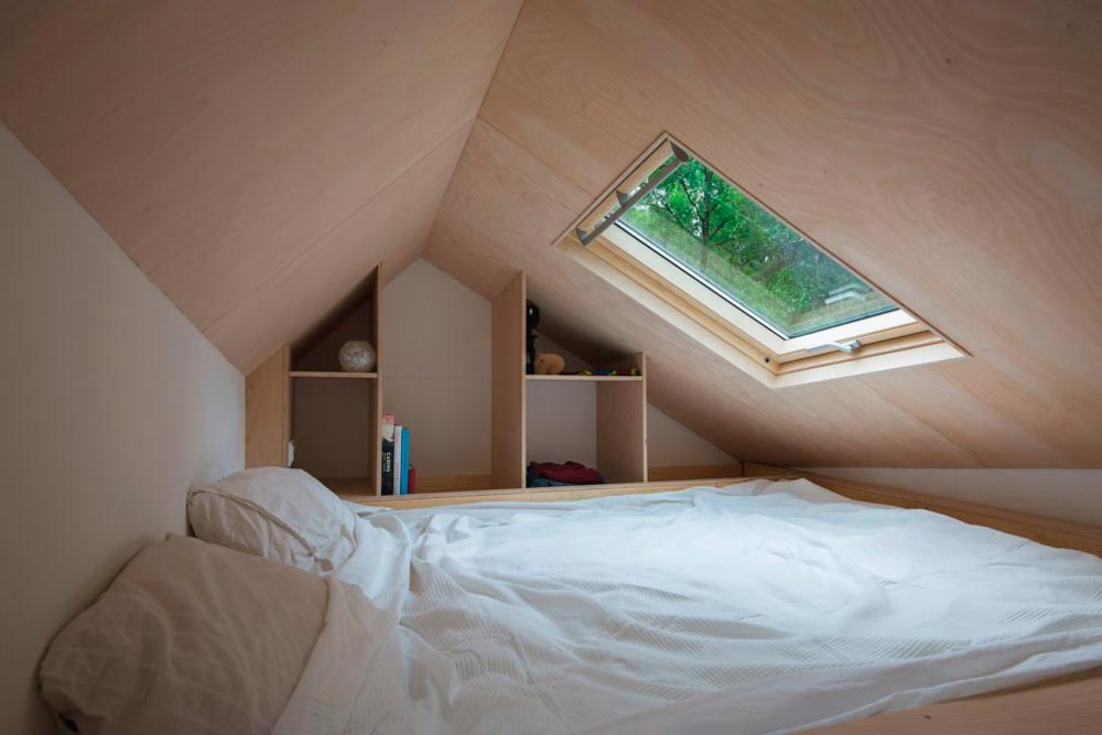 Bedroom Loft with Skylight - Marjolein's Tiny House