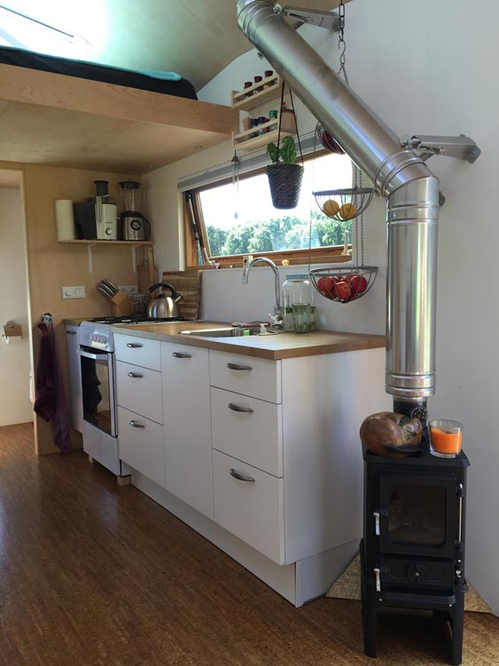 Kitchen & Wood-Burning Stove - Marjolein's Tiny House