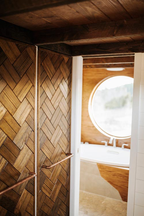 Wood Weave Closet Doors - Monocle by Wind River Tiny Homes
