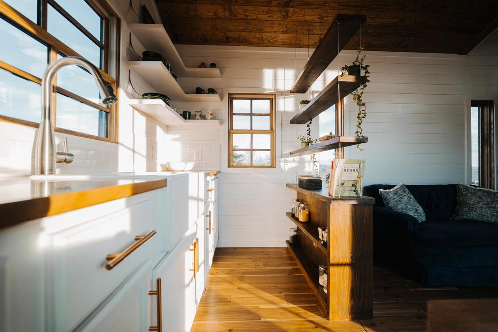 Kitchen with Copper Cabinet Pulls - Monocle by Wind River Tiny Homes