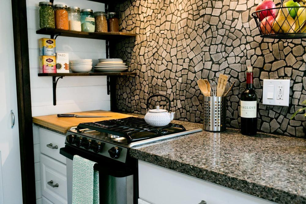 Quartz Countertop & Quarry Stone Backsplash - Shannon Black's Tiny House