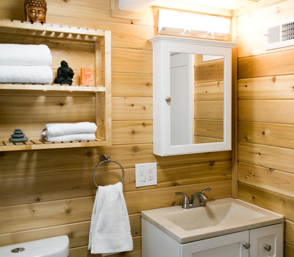 Cedar Lined Bathroom - Shannon Black's Tiny House