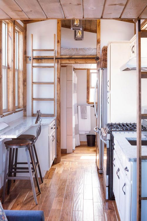 Kitchen with Bar Stools - Teton by Alpine Tiny Homes