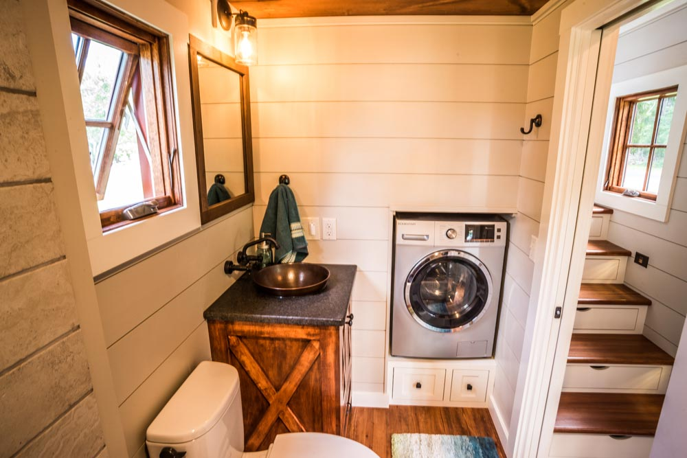 Washer/Dryer in Bathroom - Denali by Timbercraft Tiny Homes