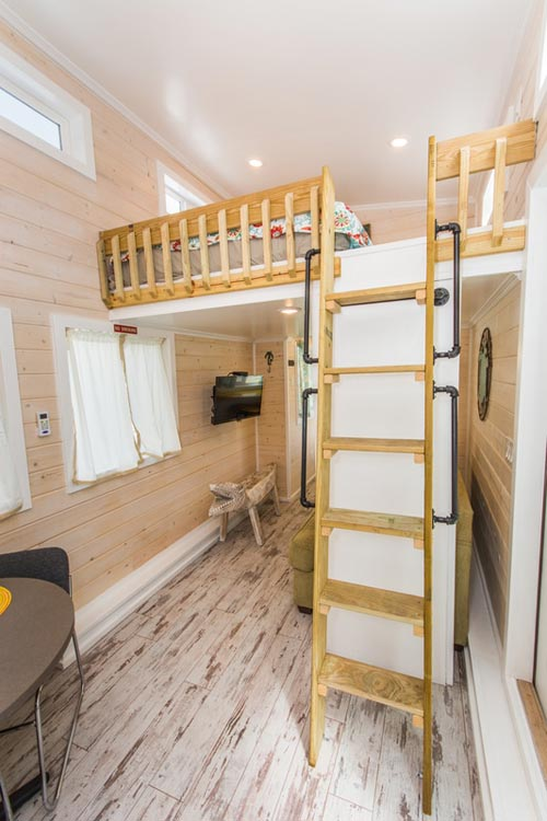 Loft Ladder w/ Handrails - Yellow Lifeguard by Upper Valley Tiny Homes
