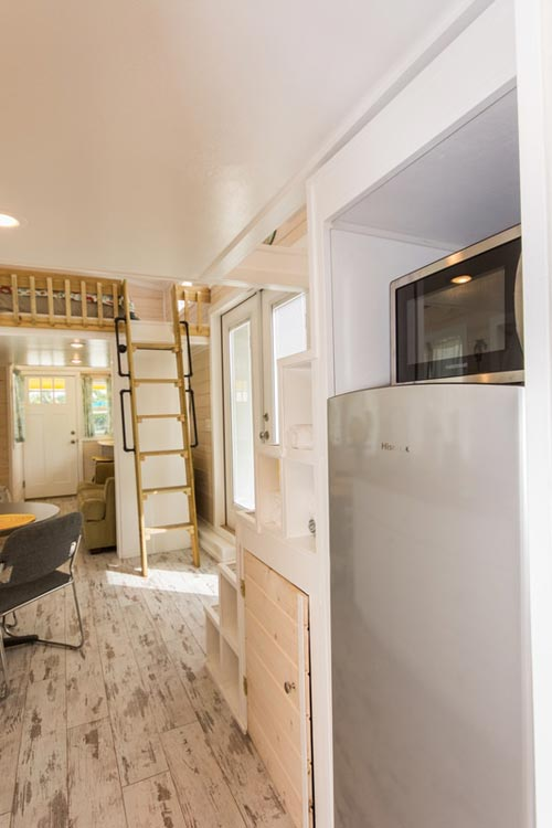 Storage Stairs Detail - Yellow Lifeguard by Upper Valley Tiny Homes