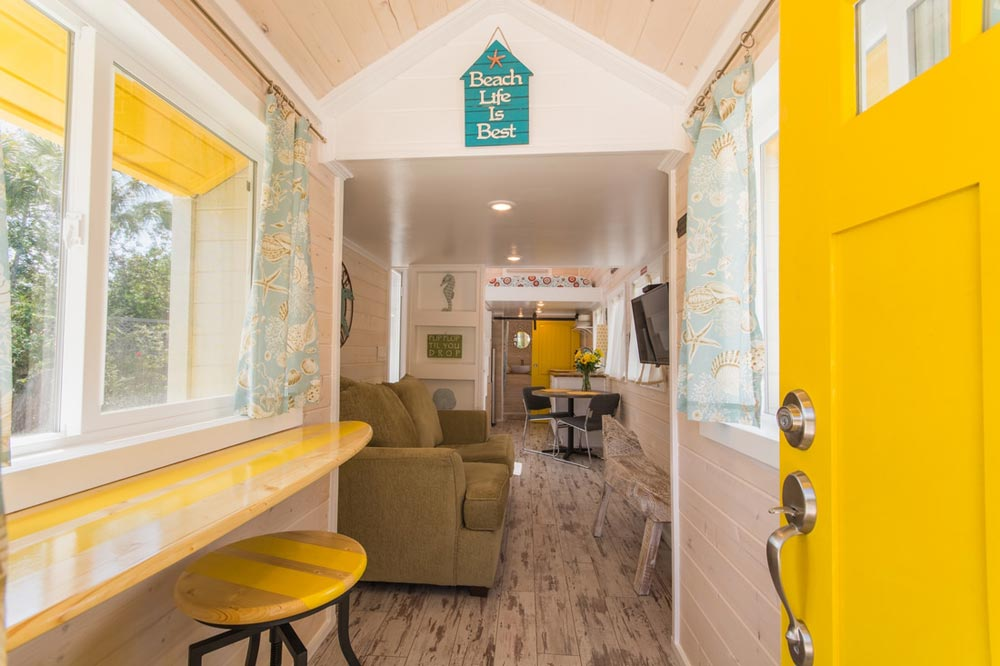 Surf Board Bar - Yellow Lifeguard by Upper Valley Tiny Homes