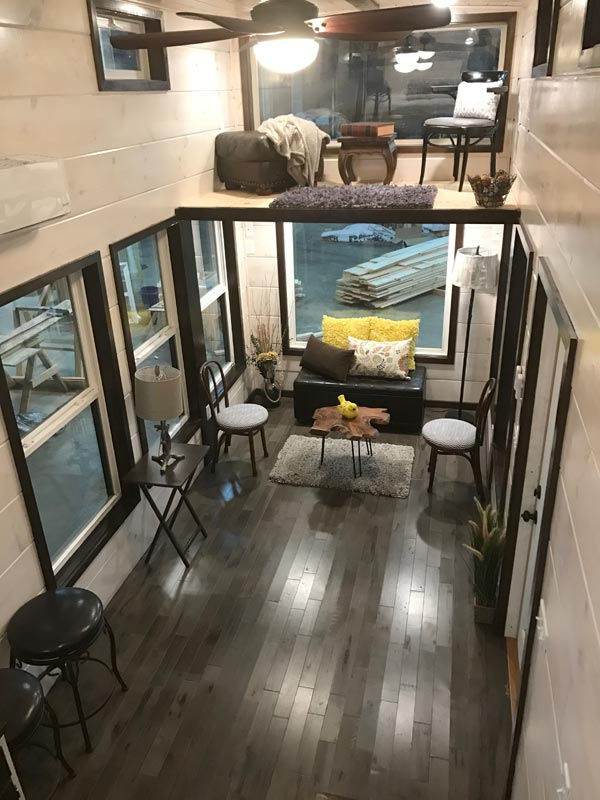 Aerial View of Living Room - Riversong Lodge by Incredible Tiny Homes