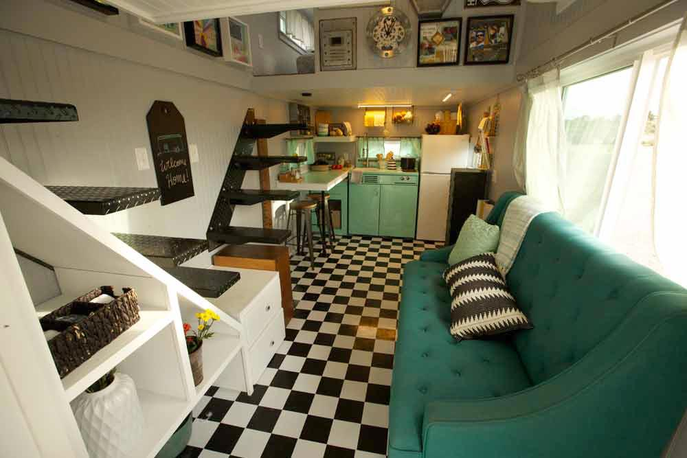 Retro Couch - Retro Garage House by Southwest Tiny Homes