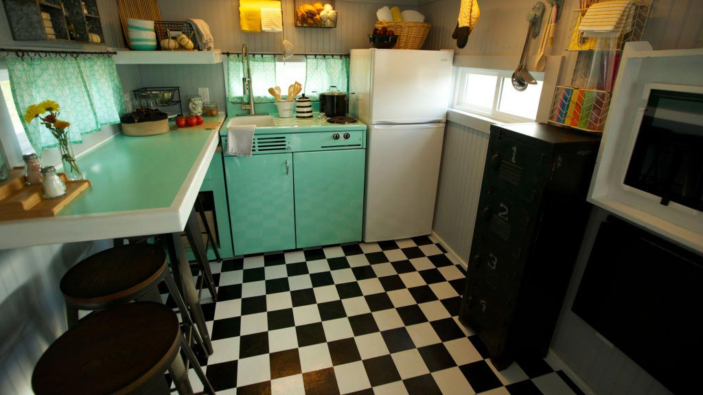 Checkerboard Flooring - Retro Garage House by Southwest Tiny Homes