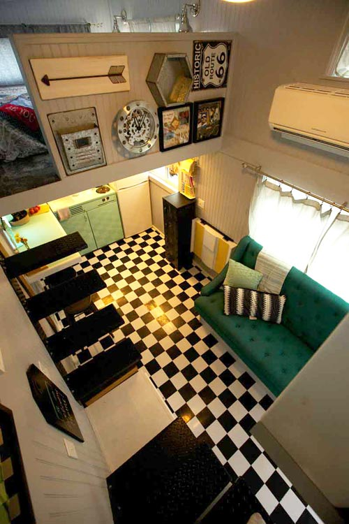 View From Loft - Retro Garage House by Southwest Tiny Homes