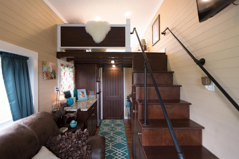 Stairs to Bedroom Loft - Nixie by Tiny House Chattanooga