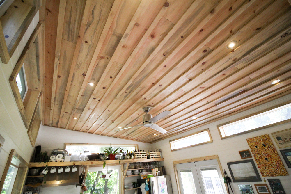 Beetle Kill Pine Ceiling - Urban Cabin by Portable Cedar Cabins