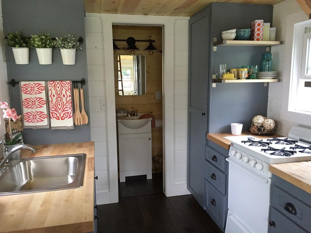 Blue-Grey Cabinets - Wanigan by Burrow Tiny Homes