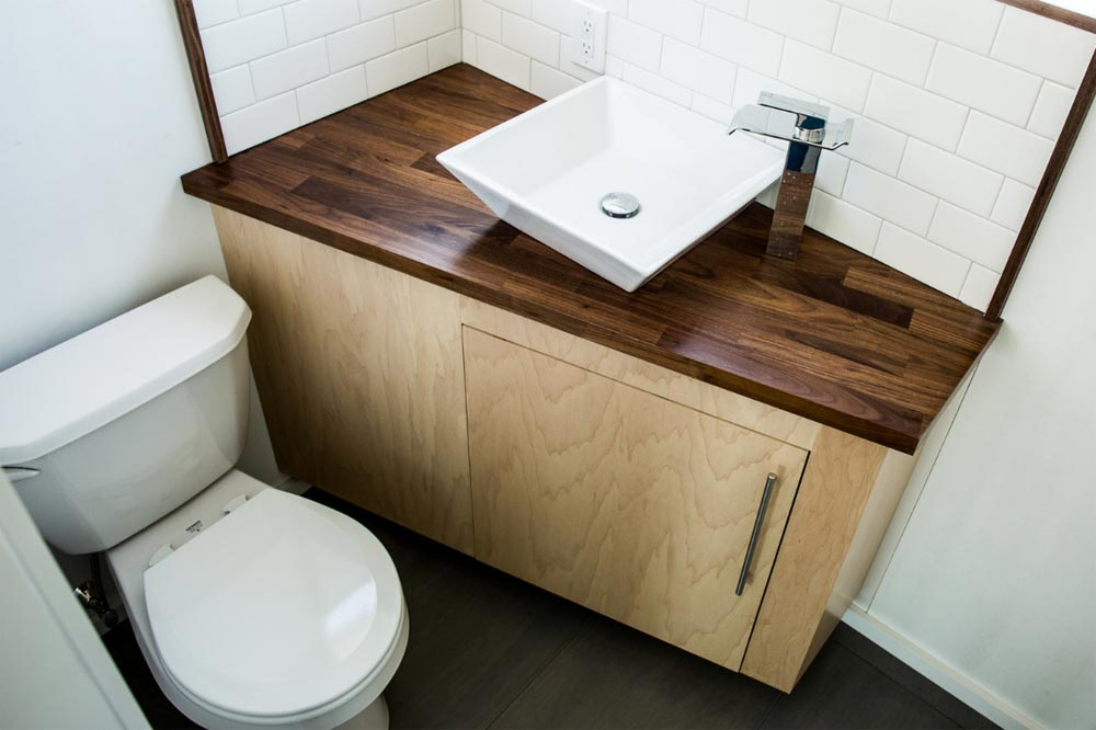 Walnut Bathroom Counter - Big Blue by Liberation Tiny Homes