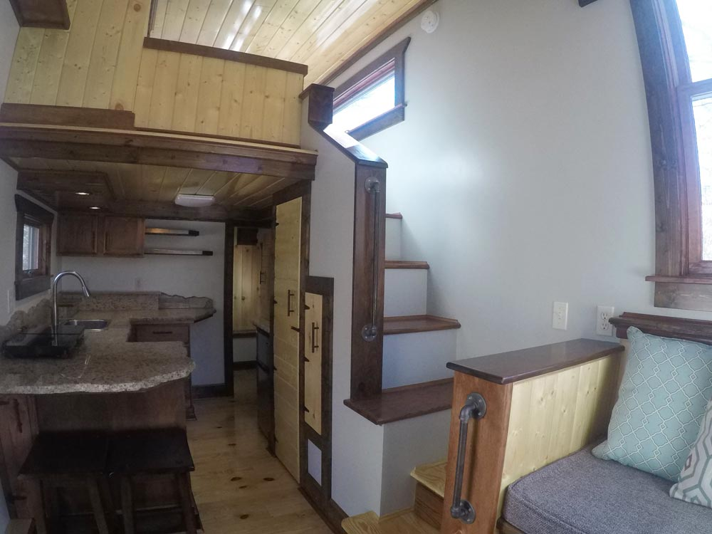 Kitchen & Loft Stairs - Blue Ridge by Aneides Tiny Homes