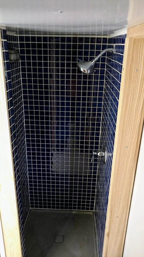 Ceramic Tile Shower - Breathe Easy by Tiny Green Cabins