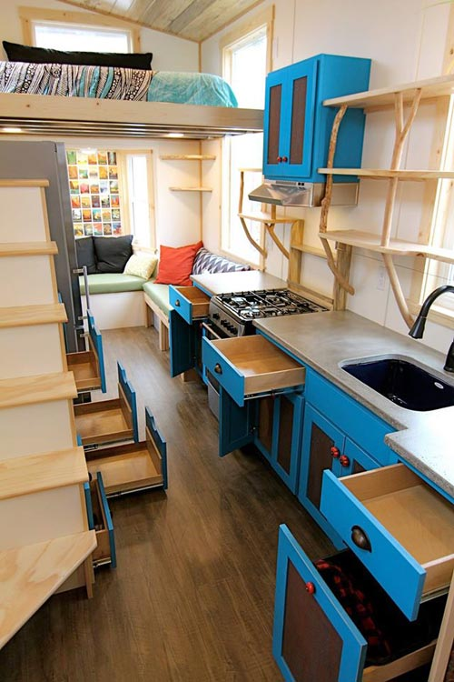 Kitchen Cabinets - Custom Fabricated Siding - Elise & Clara's Tiny House by MitchCraft Tiny Homes