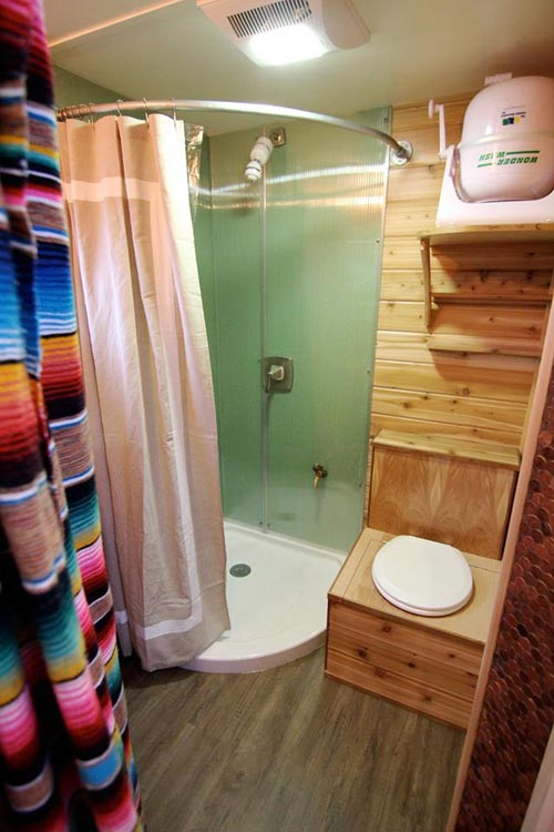 Bathroom - Custom Fabricated Siding - Elise & Clara's Tiny House by MitchCraft Tiny Homes