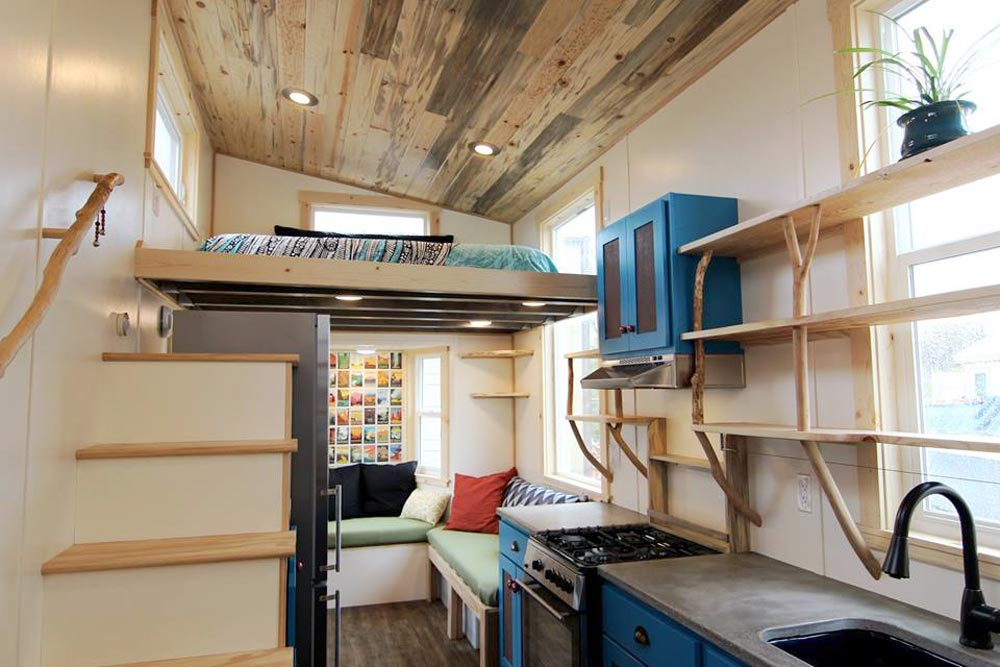 Natural Shelving - Custom Fabricated Siding - Elise & Clara's Tiny House by MitchCraft Tiny Homes