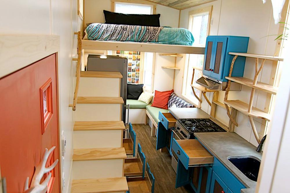 Bedroom Loft & Kitchen - Custom Fabricated Siding - Elise & Clara's Tiny House by MitchCraft Tiny Homes