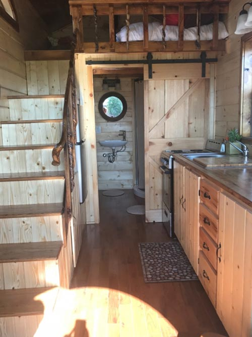 Kitchen & Stairs - Hobbit Hole by Incredible Tiny Homes