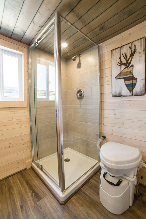 Shower Stall - Bunkhouse by Uncharted Tiny Homes