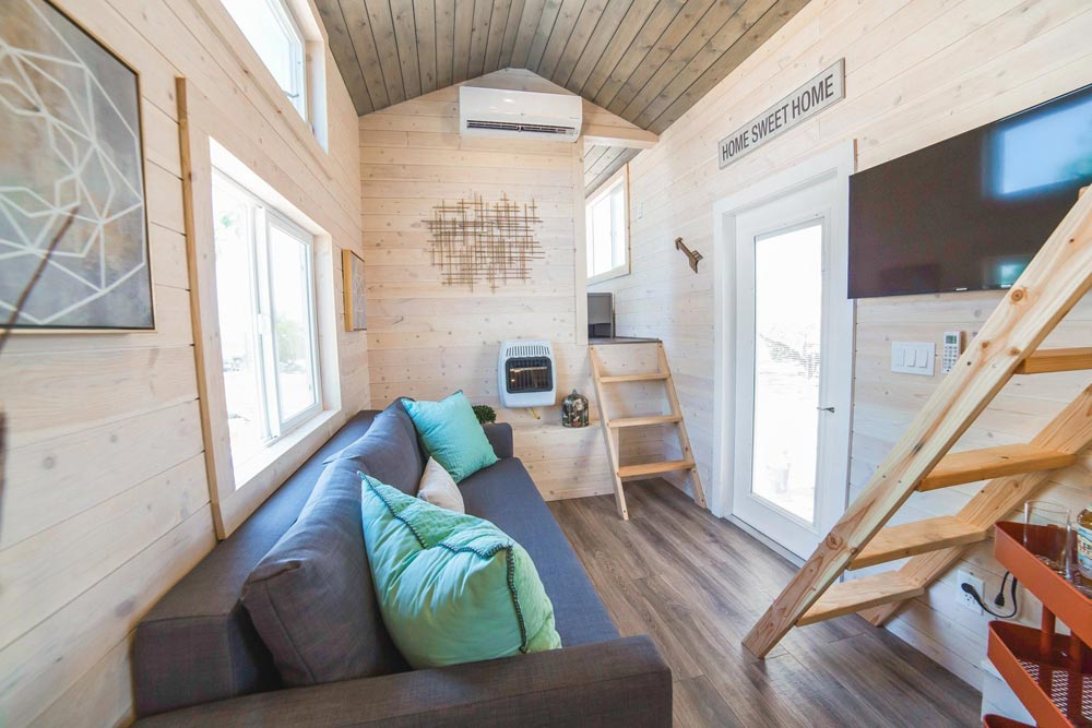 Couch & TV - Bunkhouse by Uncharted Tiny Homes