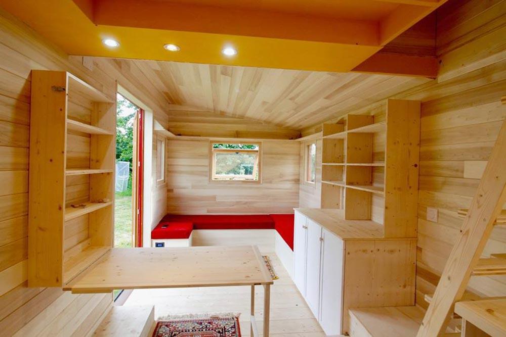 Living Room - Cahute XL Tiny HouseNatural Wood Siding - Cahute XL Tiny House