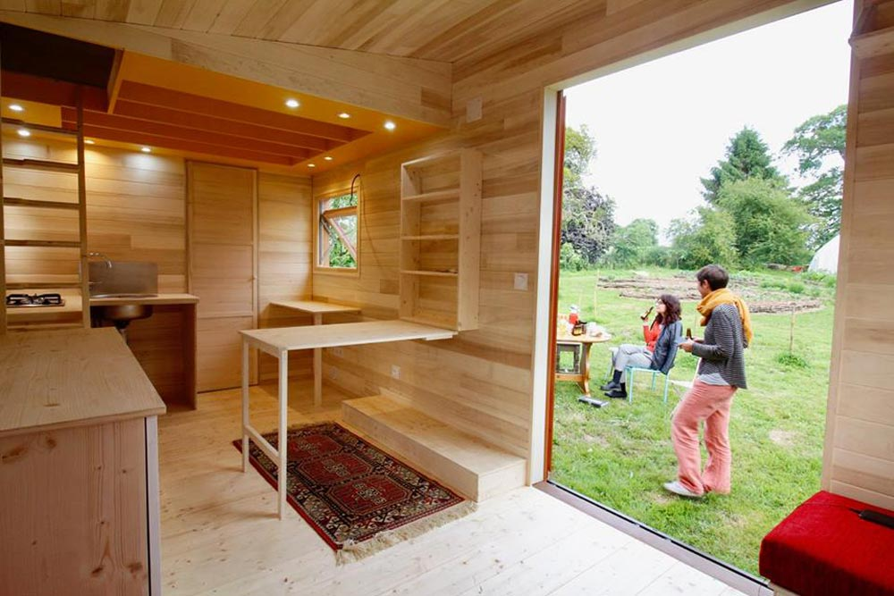 Fold Down Table - Cahute XL Tiny HouseNatural Wood Siding - Cahute XL Tiny House