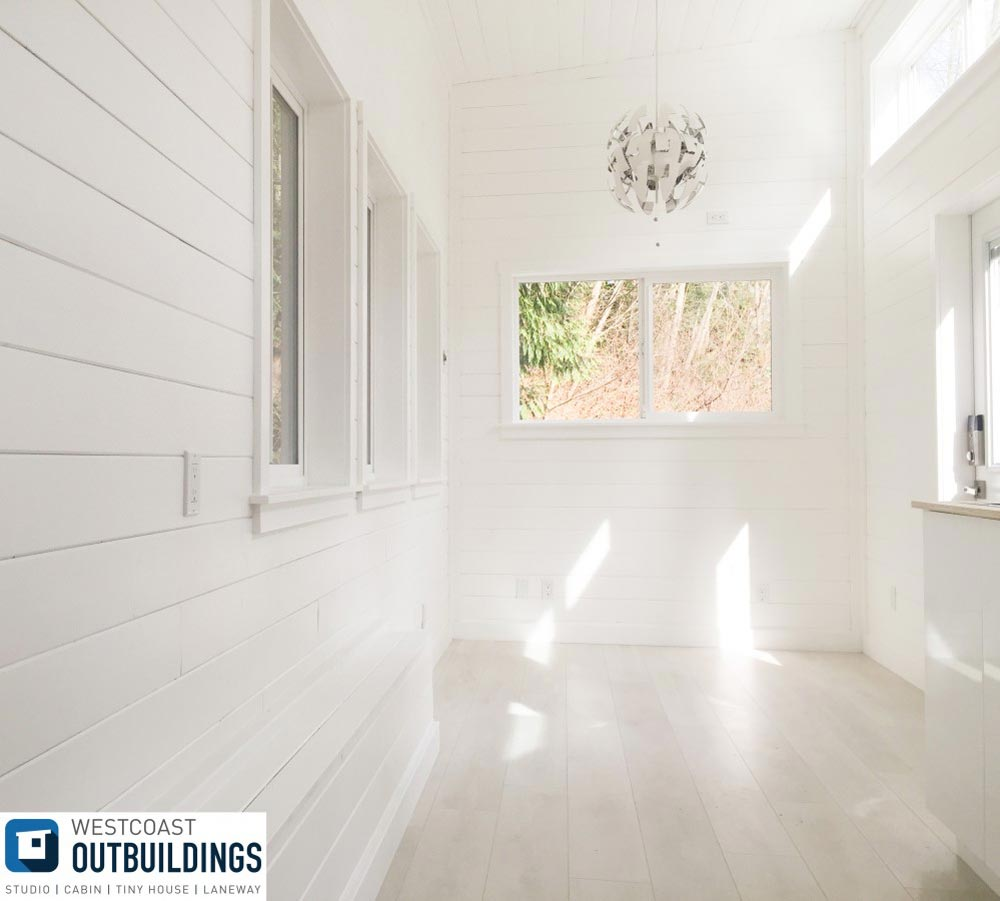 White, Bright Interior - Lillooet 24′ by Westcoast Outbuildings