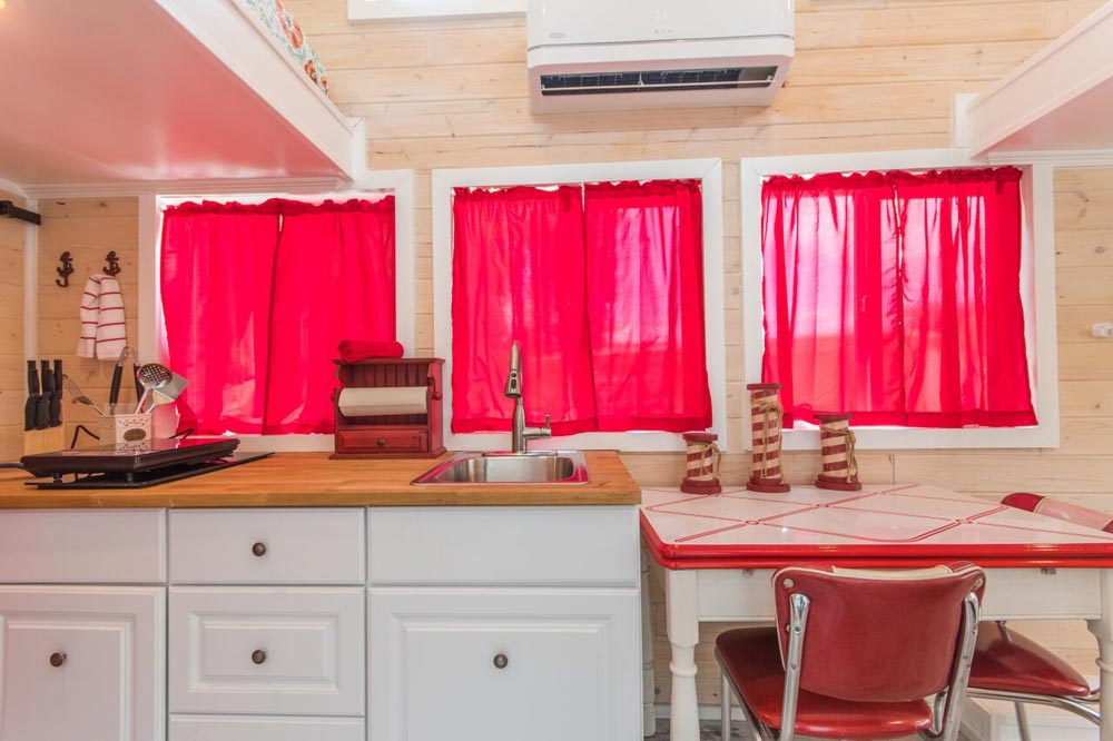 Kitchen Windows - Red Lifeguard Stand at Tiny Siesta
