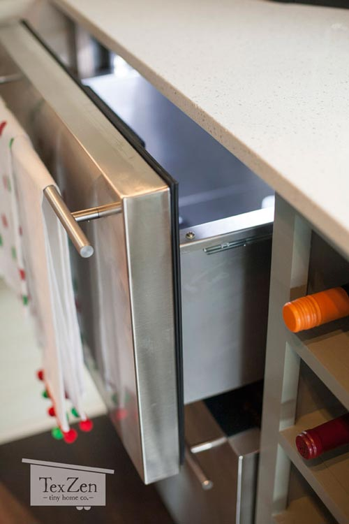 Under Counter Refrigerator Drawers - Single Loft by TexZen Tiny Home Co.