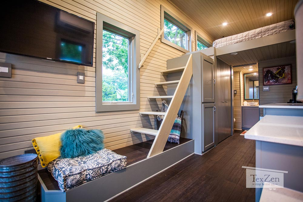 Sitting Area & Stairs - Single Loft by TexZen Tiny Home Co.