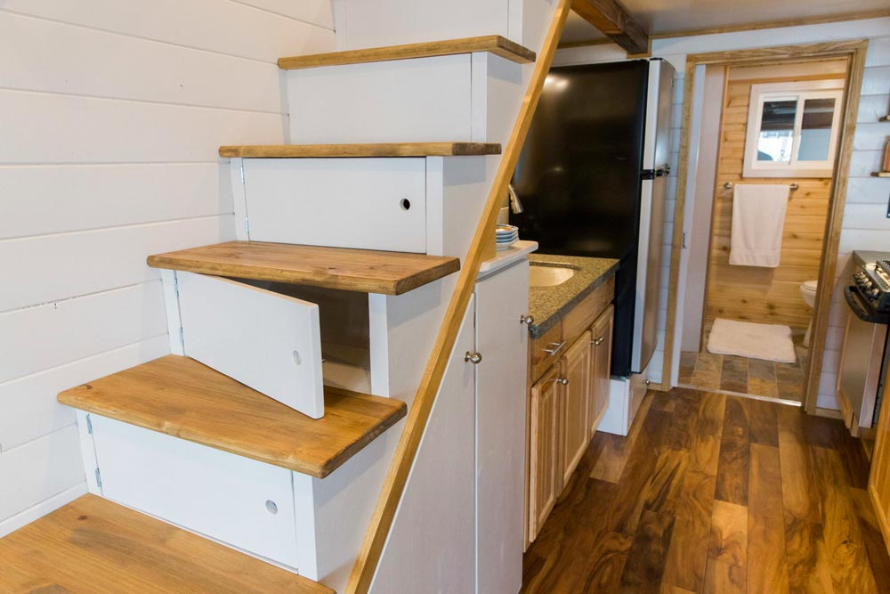 Storage Stairs - Custom Tiny House by Big Freedom Tiny Homes